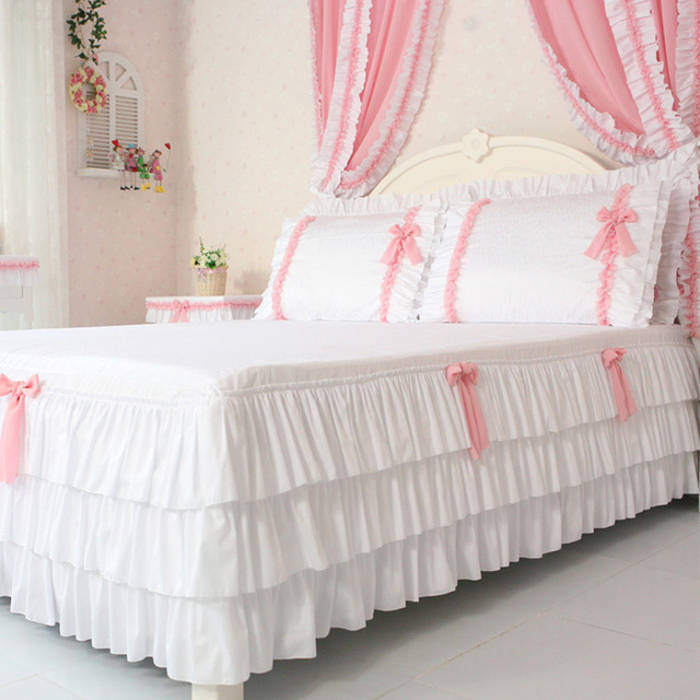 Su0026V Modern Korean Bed Sheets Lace Bed Skirts Cotton Bedspreads Queen King  Size 1Pcs Christmas Decorations