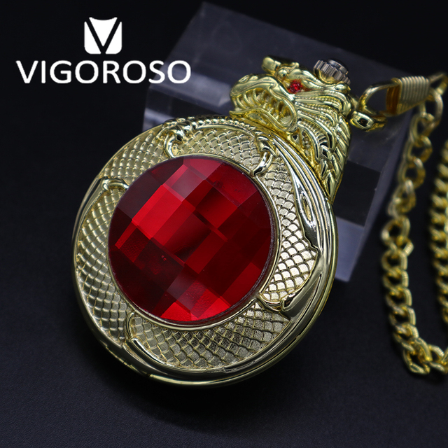 VIGOROSO Antieke Steampunk Luxe Red Ruby 3D Gragon Goud Staal Mechanische FOB & Pocket Horloges Vintage Hand Winding Zakhorloge