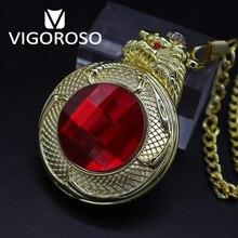 VIGOROSO reloj de bolsillo mecánico de acero dorado con cuerda manual, reloj de pulsera mecánico de lujo Steampunk, con rojo rubí 3D Gragon, cuerda manual Vintage