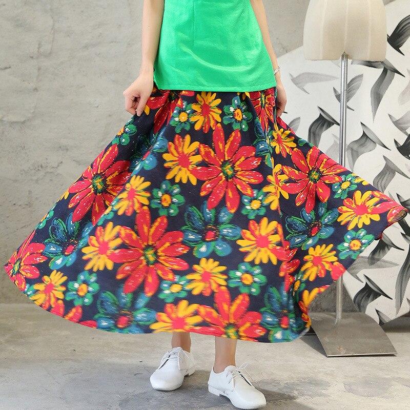 2017 Female Spring Summer New Floral Long Pleat Large Hem Art Bohemian Beach Printed Skirt Cotton