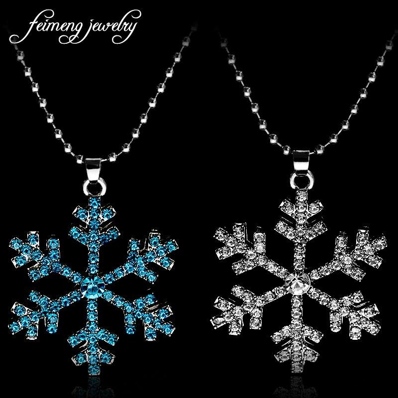 Collar con copo de nieve de cristal azul para mujer, colgante de Anna, accesorios de moda, joyería Popular