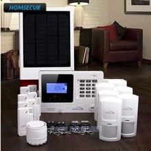HOMSECUR Wireless&Wired GSM SMS Burglar Alarm System+Wireless Solar Flash Siren