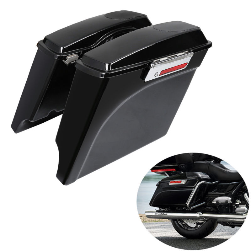 ABS 5 Stretched Saddlebag W/ 5x7 Speaker Lids For Harley Touring FLT FLHT FLHTCU Street Glide Road King 1993-2013 touring saddlebag hardware for harley touring model 1993 2013 hard bags flt flht flhtcu flhrc road king road glide etc