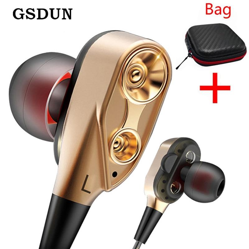GSDUN podwójne sterowniki słuchawki super bas sportowy