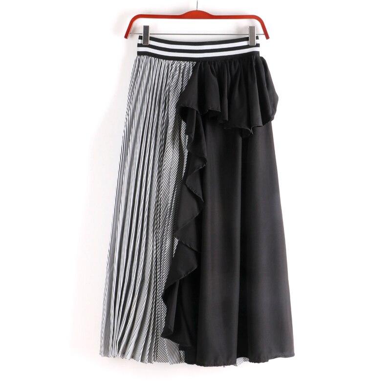 Ruffles กระโปรงผู้หญิงแฟชั่นเสื้อผ้า Midi Patchwork