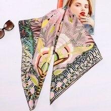 عالية نمط الأزهار طباعة ساحة 100% الحرير حك وشاح يلتف النساء رئيس الأوشحة الحجاب شال Foulard 88*88 سنتيمتر