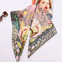 Alto Stile di Stampa Floreale Piazza 100% Twill di Seta Della Sciarpa Avvolge Le Donne Testa Sciarpe Dello Scialle del Hijab Foulard 88*88 centimetri