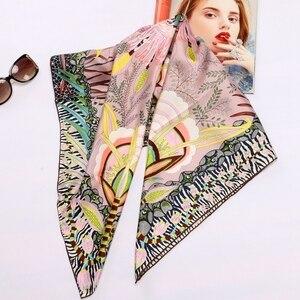 Image 1 - High Style Floral Print Square 100% Silk Twill Scarf Wraps Women Head Scarves Hijab Shawl Foulard 88*88cm
