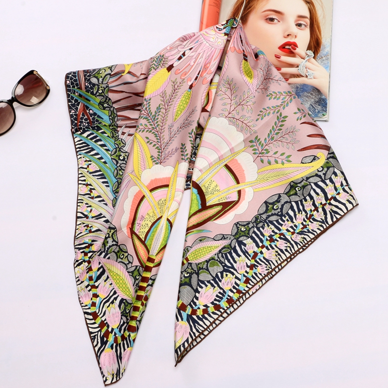 High Style Floral Print Square 100% Silk Twill   Scarf     Wraps   Women Head   Scarves   Hijab Shawl Foulard 88*88cm