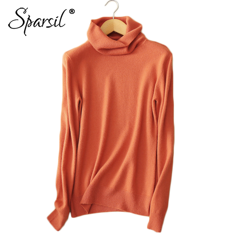 Sparsil 2018 Women Winter Pure Wool Knitted Sweater Autumn Spring Turn Down Collar Cashmere Jumper Female Pullover Sweaters