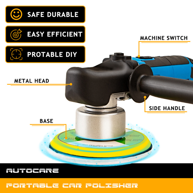 Dual Action Polishing Machine Car Wax Polisher Electric 220V 50Hz Input Power 680w GS CE EMC Backing Plate 150mm Polishing Pad 1