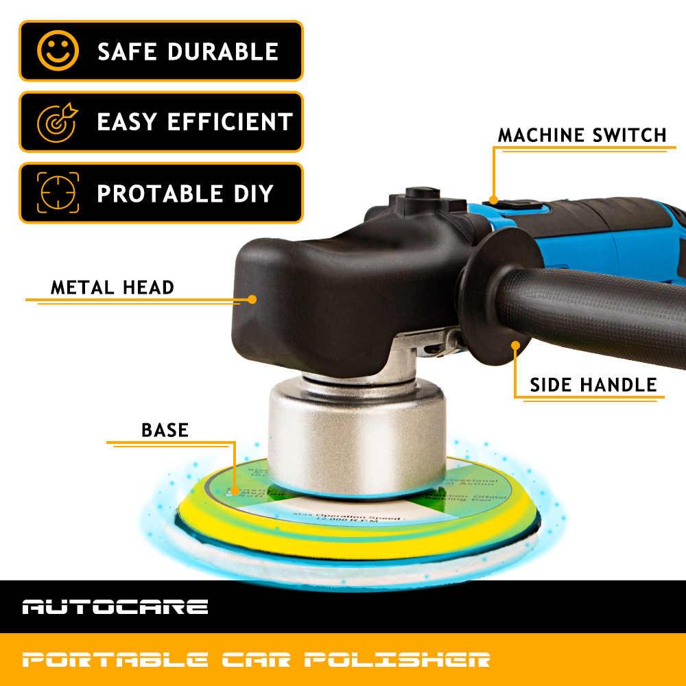 Çift Eylem parlatma makinesi Araba Balmumu Parlatıcı Elektrikli 220V 50Hz Giriş Gücü 680w GS CE EMC Destek Plakası 150mm Parlatma Pedi