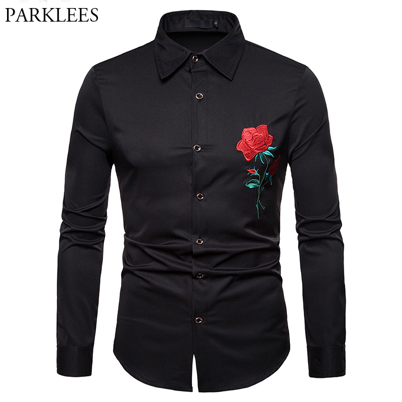 Mens Hipster Red Rose Embroidery Shirt Men Camisa Masculina 2018 Casual Long Sleeve Slim Chemise Homme Business Camisas Hombre