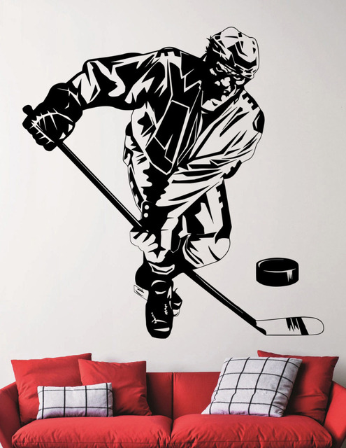 hockey player wall decals ice hockey black vinyl wall sticker for