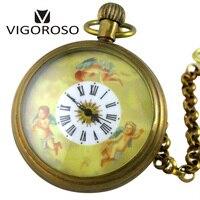 Collection Antique Vieux Cuivre Montre De Poche Mécanique FOB Chaîne D'enroulement de Main De Luxe Ange Analogique Romain Vintage Montre VIGOROSO