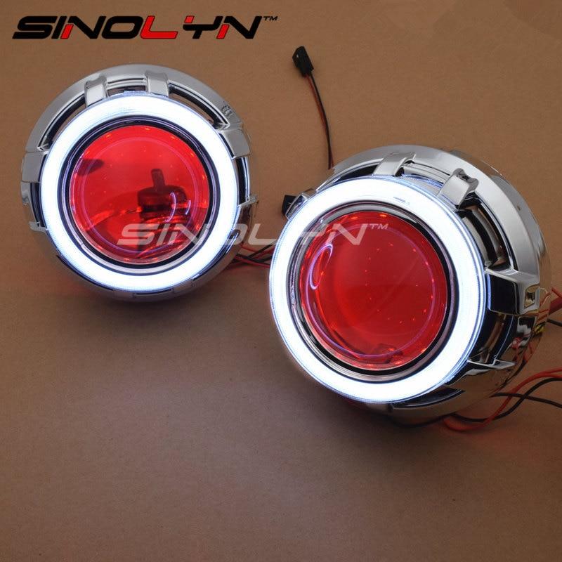 SINOLYN LED Angel Eyes Devil Eye Car Projector Lens Bi Xenon Headlight DRL Kit For Car Auto Tuning DIY Headlamp Lenses
