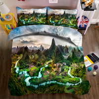 Overlooking the landscape of pastoral villages 3d effect photo bed linen can be customized photo pattern