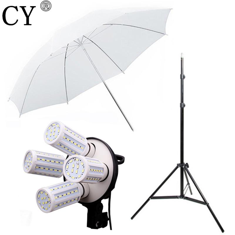 CY Photo Stand Kit 4pcs 40w LED Light 83CM Studio White Transparent Umbrella+4*E27 Socket+200cm Stand Umbrella Lighting Kits
