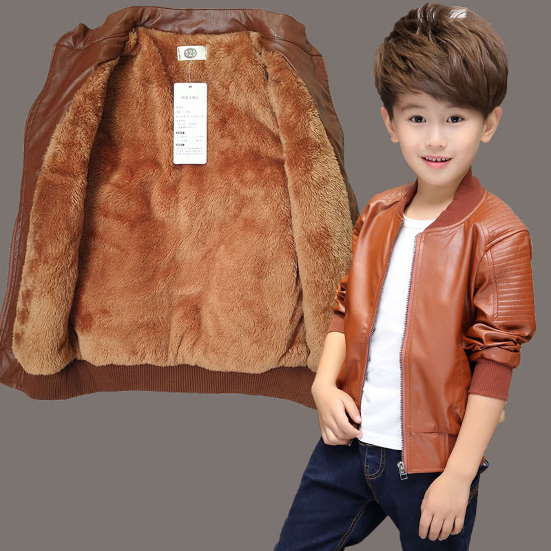 Kids PU Leather Jacket Children Boys Winter Coat New 2018 Fashion Winter Thick Velvet Solid Children's Warm Clothes Outwears