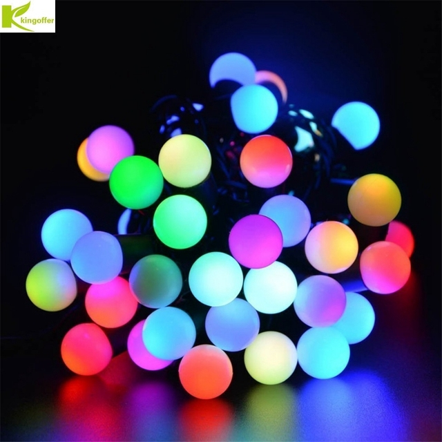 kingoffer multi color new year rgb 5m 50 led ball string christmas lights party wedding decoration