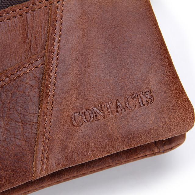 Męski brązowy skórzany portfel CONTACTS 3 rozmiary