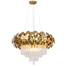 New shaped living room crystal chandelier design gold round drop crystal decorative lights