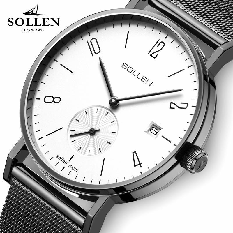 SOLLEN Brand Luxury Ultra Thin Watches Men Quartz Stainless Steel Men Watches Clock Man Waterproof Fashion Casual Wristwatches tevise fashion mechanical watches stainless steel band wristwatches men luxury brand watch waterproof gold silver man clock gift