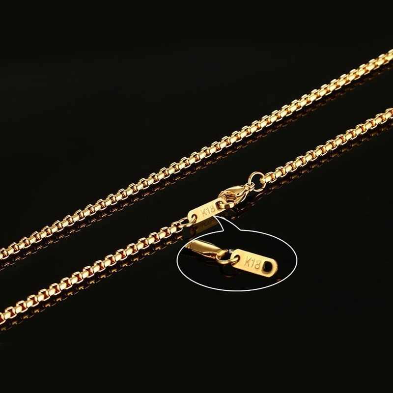 3 มม.สแตนเลสสตีลหนา Golden Link สร้อยคอของขวัญแฟนพ่อสามี 24 นิ้ว