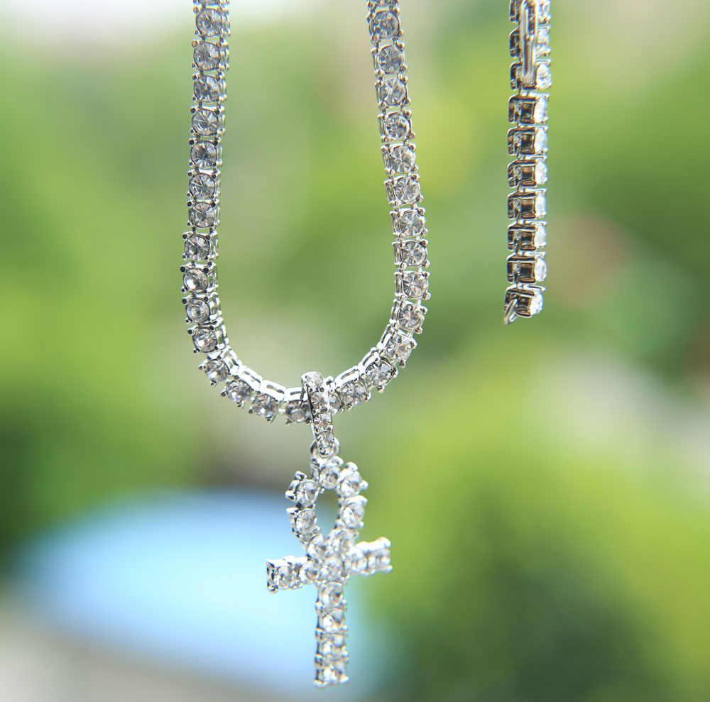 """24 """"złoto srebro hip hop Rock style biżuteria iskrzenie bling kryształ sieć tenisowa cz krzyż wisiorek mężczyźni tenis chian krzyż naszyjnik"""