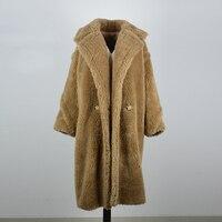 Мех животных пальто для женщин зимние супер теплый 100% шерсть верхняя одежда плюшевый медведь пальто с изображением rf0166