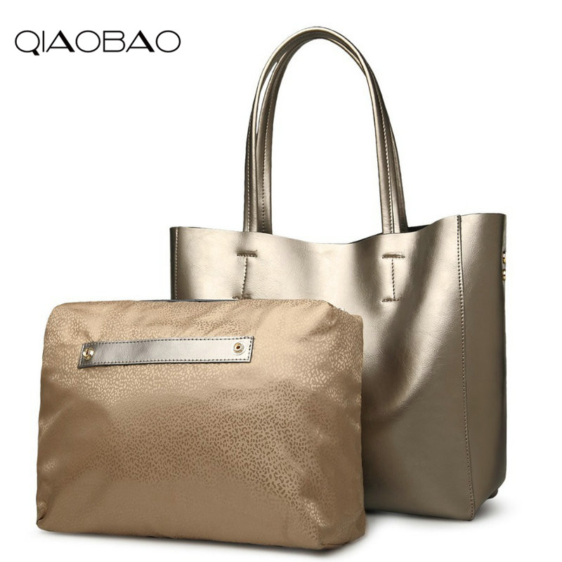 QIAOBAO Fashion 100% Genuine Leather handbag shoulder big bag 2018 new trend of casual shopping bag large capacity qiaobao 2018 new korean fashion leather handbag trend of women s shoulder bag diagonal cross flow totes