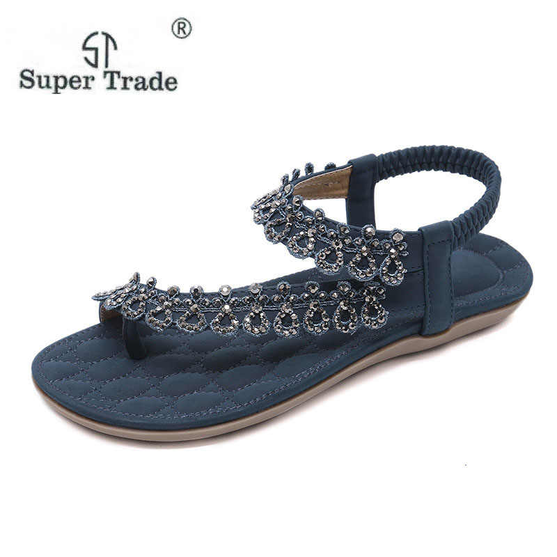 3abcbecfdcdee3 2018 New Ethnic Sandals Bohemian Rhinestone Flowers Diamond Large Size  35-42 Flat Sandals Summer