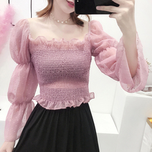 5f277ddafed temperament New Women s Clothing fashion trend short thin fold ruffles  polka dot flash sleeve slash neck full chiffon blouse