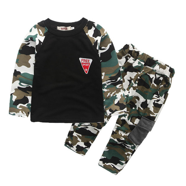 266be583899f Boys Girls Spring Autumn Cotton Camo Teen Boy Sports Set Active Girls  Clothes Suits 2018 New Camouflage Kids Clothing Sets For