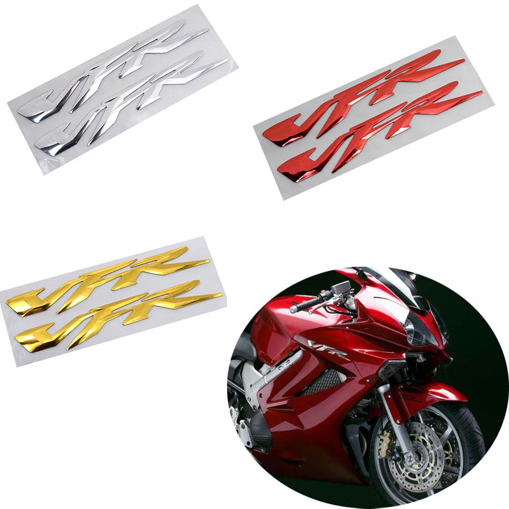 1 Pair VFR 3D Raised Sticker Decals 23 X 2.8cm Fits For Honda VFR 400 800 1200 Motorbike Fairing Body Side Decorative Decals NEW