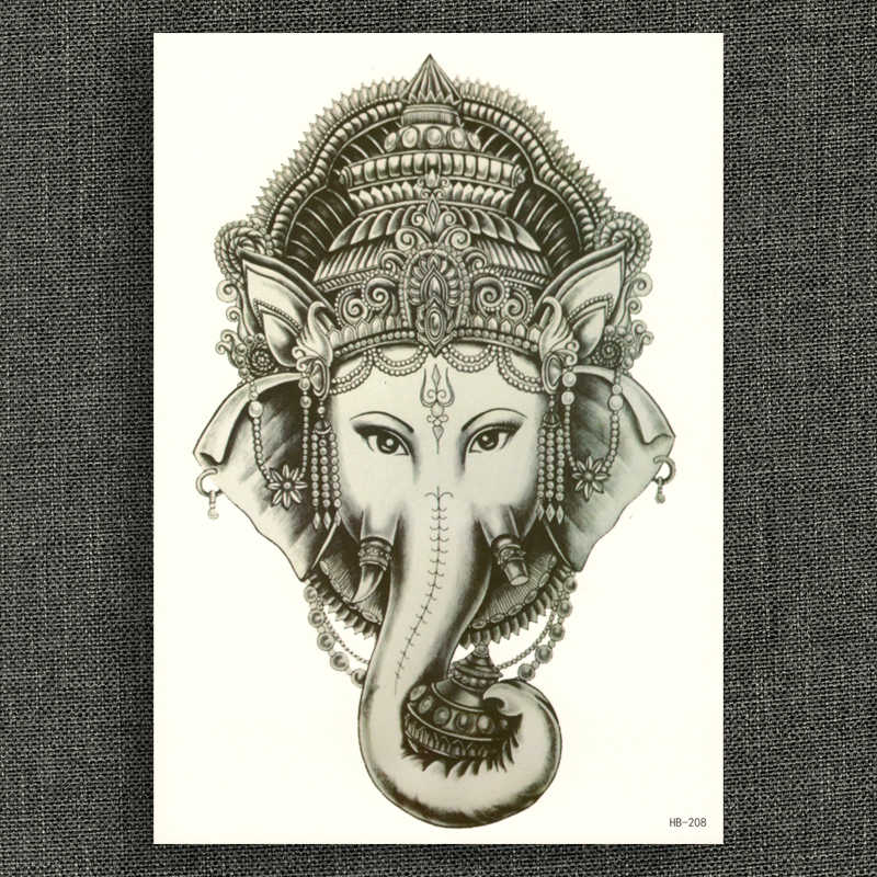 Fake tattoo Water Transfer Waterproof Temporary Stickers Indian Elephant God Ganesha Women Men sexy glitter Body Art Cool Stuff
