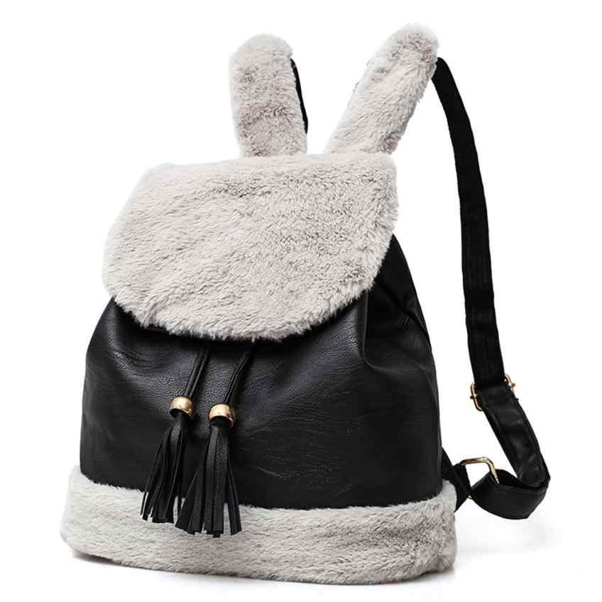 Fashion Women Hairy Backpacks School Bag Student Plush Backpack Girls Cute  Backpacks Solid Color Velour Shoulder 600dab0490ab4