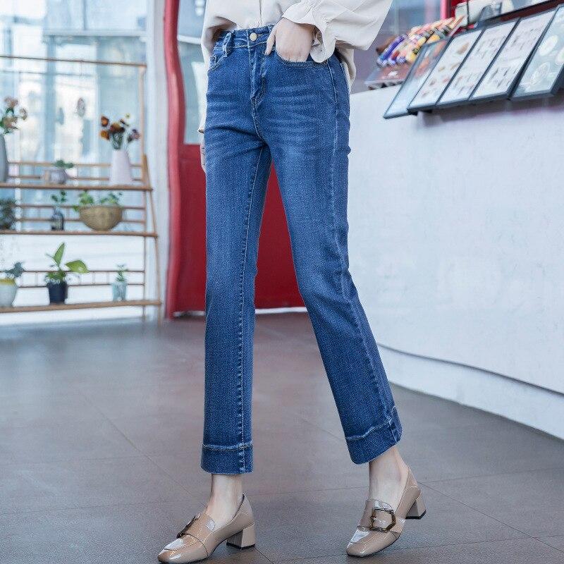 Promoción de la alta calidad de los niños Jeans clásico sólido Color de algodón elástico de la cintura Denim niños pantalones vaqueros para 2-14 años 5A026-050