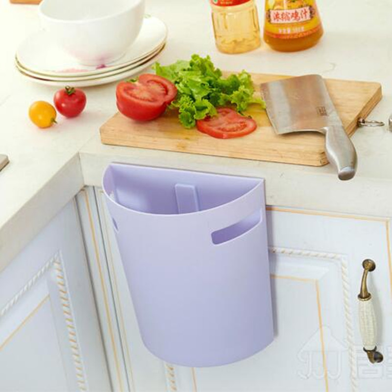 Practical Self-adhesive kitchen cupboard drawer door plastic trash bin organizers garbage holder desktop wastebasket storage box