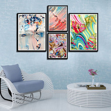 Nordic Watercolor Posters And Prints Abstract Pictures Wall Art Canvas Colorful Line Painting Fashion Bedroom Bedside Home Decor(China)