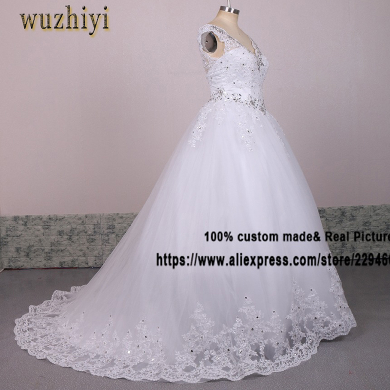 wuzhiyi vestidos de noiva Lace Appliques Wedding dress 2017 Custom made Sexy V neck wedding dresses with Beading Crystal gowns