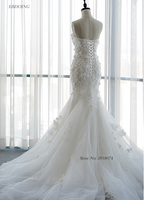 Real Photo Vestidos De Novia Mermaid Wedding Dresses Sweetheart Sleeveless Bride Wedding Court Train With Lace Beading Flowers