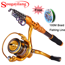 Discount! Sougayilang 1.8-3.0m Carbon Stick Telescopic Fishing Rod With Reel 13+1BB Spinning Reel Fishing Line Fishing Rod Set Combo
