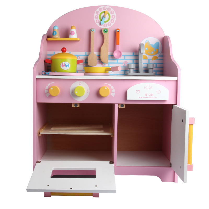 Children wooden Japanese style simulation kitchen toys pink color kitchen cookware xet for kids Learning Cooking toys 36M+