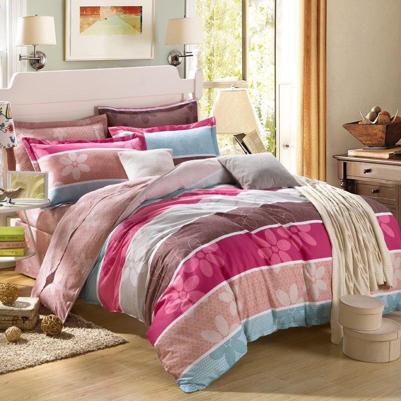 IvaRose 2017 Bedding Set 100% Cotton Queen Duvet Cover blue Strip Bed Sheet Sets King Size 4pcs Jogo de Cama 28
