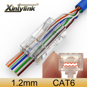xintylink EZ rj45 connector cat6 ethernet cable plug cat5e rg45 network utp RG RJ 45 cat 6 unshielded cat5 jack modular keystone(China)