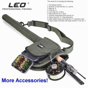 Fly Fishing Rod 2.74M Leo Fly Fishing Kit with Bag, Reel, Backing Line, FLy and Lead Line,Flies, Shine Disc, ABS Weights, etc