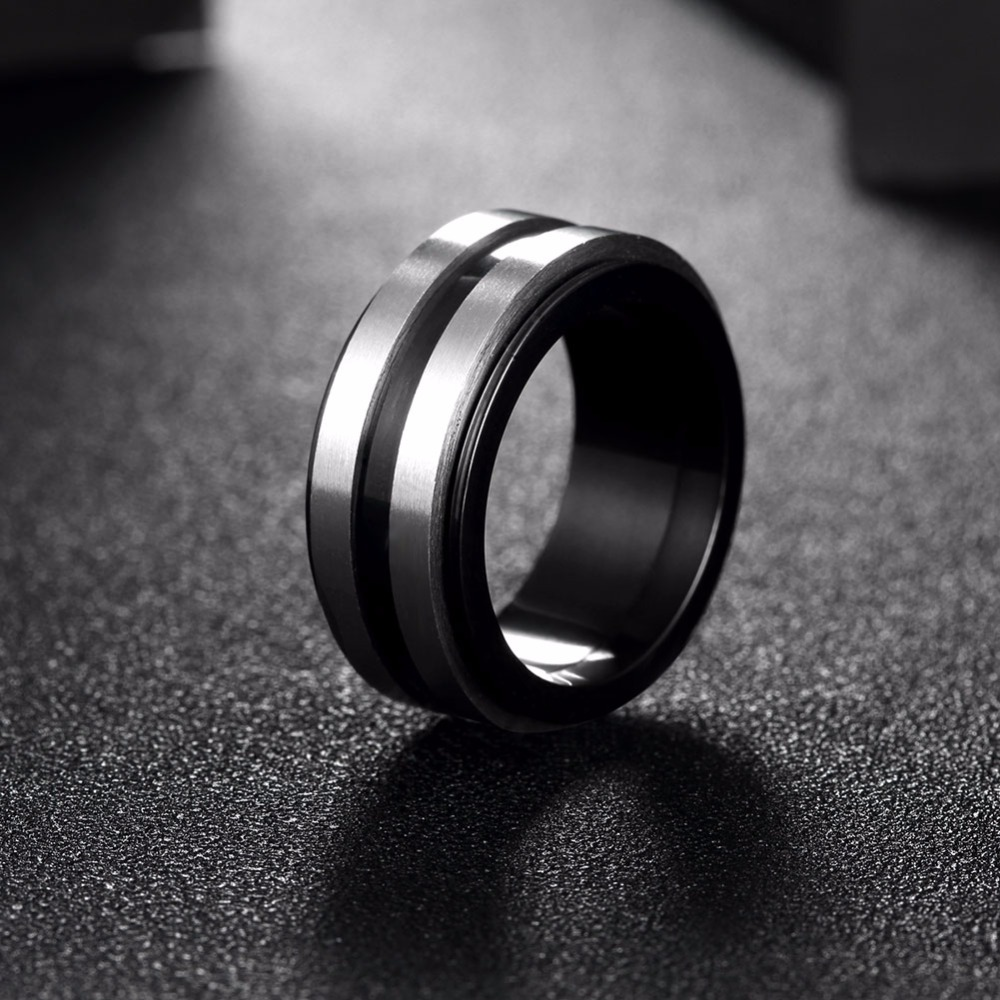 Inalis Black Gun Plated Spinner Rings For Men Cool Rotatable Layer Design  Stainless Titanium Steel Wedding Jewelry Biker Rings