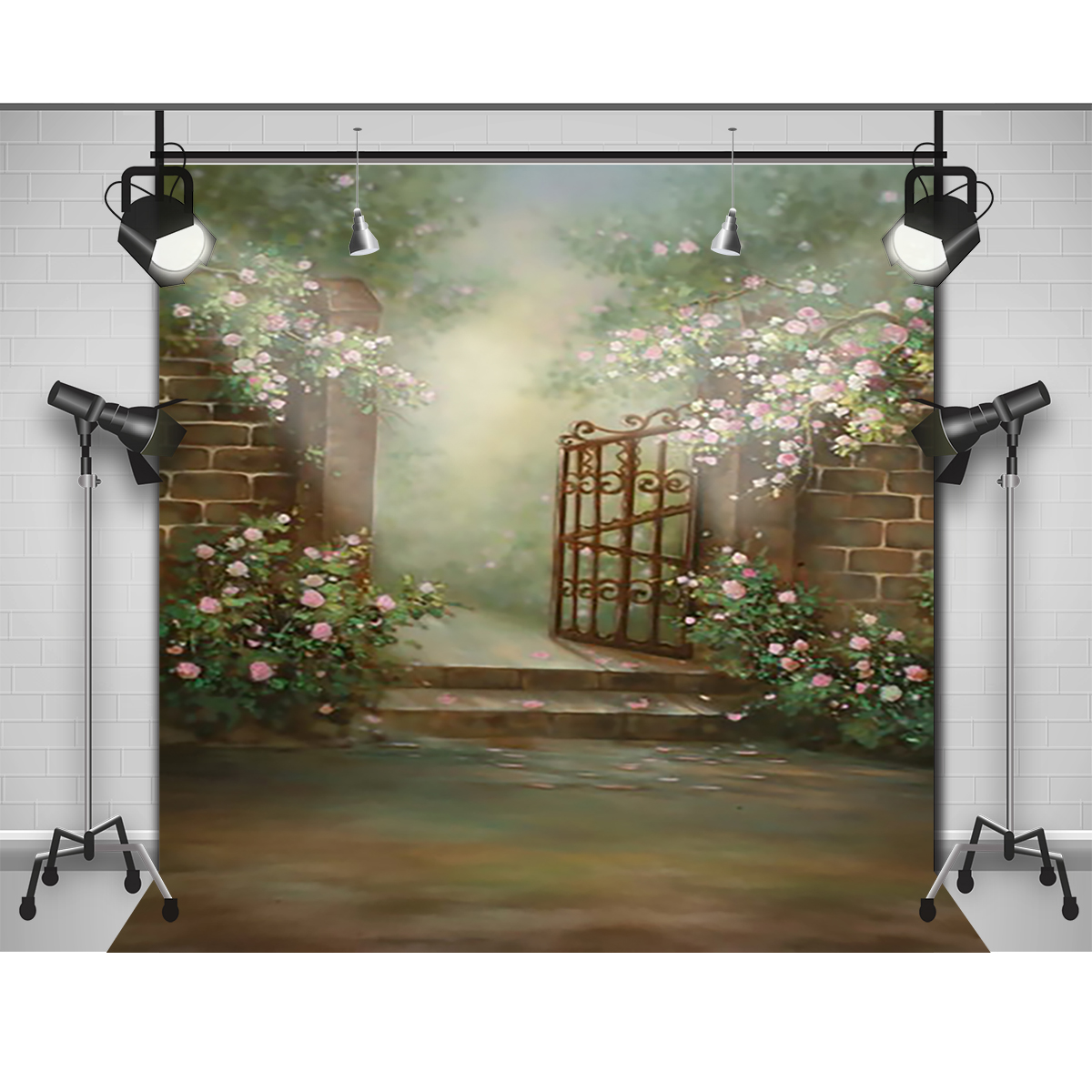 Flower Garden Gates Backgrounds Vinyl cloth High quality Computer printed custom backdrop