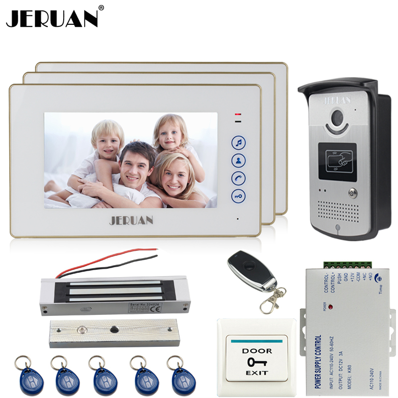 JERUAN 7`` touch key video door phone intercom system kit 3 monitor 700TVL RFID Access Night Vision Camera 180KG Magnetic lock jeruan wired 7 touch key video doorphone intercom system kit waterproof touch key password keypad camera 180kg magnetic lock